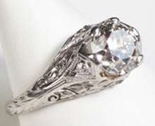 Art Deco period platinum and diamond ring, circa 1920s