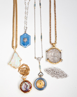 group of antique watch necklace jewelry, circa 1920s