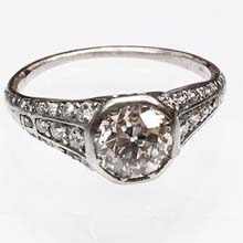 Antique platinum and diamond engagement ring, made by Tiffany & Company circa 1920's. Nobel antique jewelry store, Santa Monica.