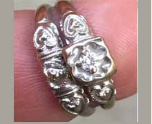 Antique white gold and diamond set of engagement ring and wedding band. Circa 1930s. Made in America. Nobel Gems, Inc. Santa Monica