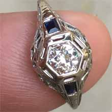 Antique white gold and diamond ring with french cut sapphires on sides. Circa 1930s. Made in America. Nobel Gems, Inc. Santa Monica
